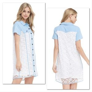 Dresses & Skirts - Cowgirl Country Blue & Lace Mini Dress